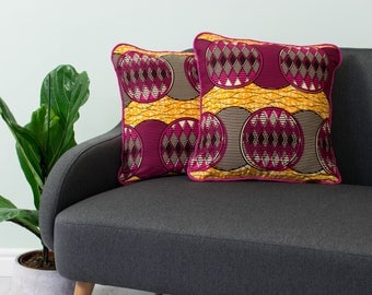 African print pillow 2 set - African pillow cover  -  Afrocentric cushion - African cushion - decorative pillow - Pink yellow ripple