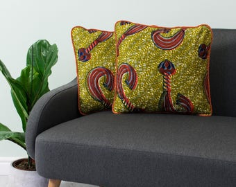 African print pillow 2 set - African pillow cover  -  Afrocentric cushion - African cushion - decorative pillow - Gold and orange whip