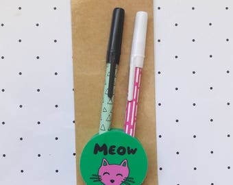 Geometric Design Pen Set With Cat Eraser Pen Holder Paper Craft Supplies/Stationery/Back To School Supplies