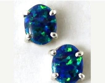 On Sale, 30% Off, Created Blue/Green Opal, 925 Sterling Silver Post Earrings, SE002C