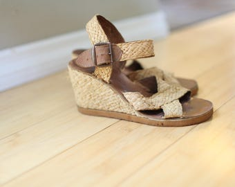 vintage woven wood leather platform wedge sandals womens 6 1/2