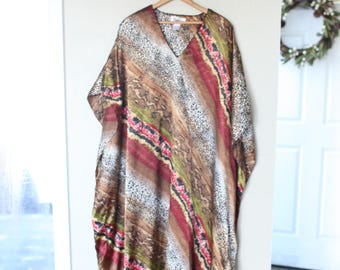 vintage leopard animal print oriental tunic caftan dress