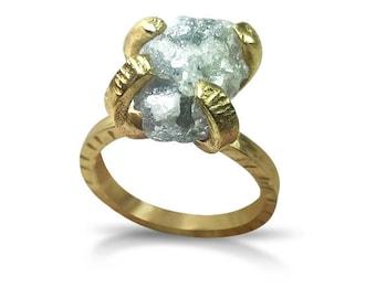Raw Diamond Ring, Huge 7 carat Rough  diamond ring, engagement ring, Solid gold and diamond statement ring