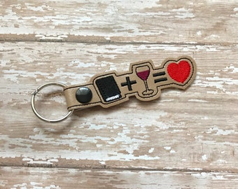 Book Club Gift, Book club Keychain,  Book Club Love, Books and Wine, Custom Keychain---You choose 70 Colors