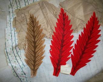 Vintage colorful velvet leaves 1930s German brown and red millinery supply