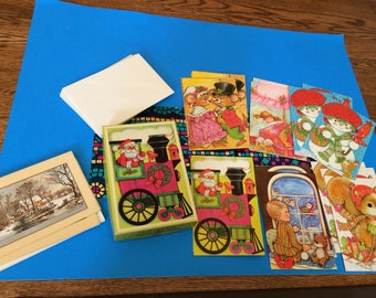 Vintage Children's Christmas Assortment Greeting Cards and More