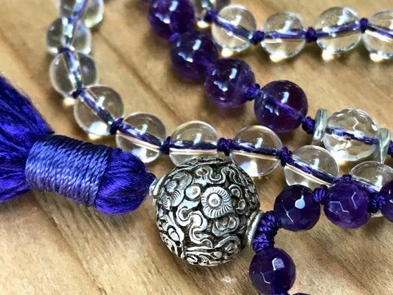 Crown Chakra Mala, Dharma Wheel, Crystal Quartz, Amethyst, Herkimer Diamond, Yoga Jewelry, Tibetan Sterling Silver Bead, Auspicious Symbol