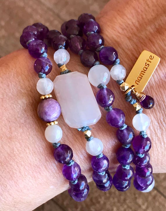 Crown Chakra Mala Beads, Amethyst, Moonstone, Opal, Namaste Charm, Enlightenment ,Intuition, February Birthstone Yoga Jewelry, Namaste Charm