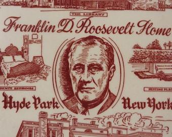Franklin D. Roosevelt Home Plate Hyde Park New York // Commemorative Plate // FDR Library, Resting Place, and Home of Franklin D. Roosevelt