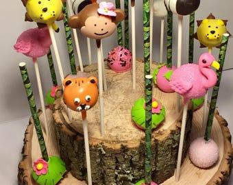12 Cake Pops, Jungle theme Baby Shower, Zoo theme, Baby Shower, Kids Birthday Party