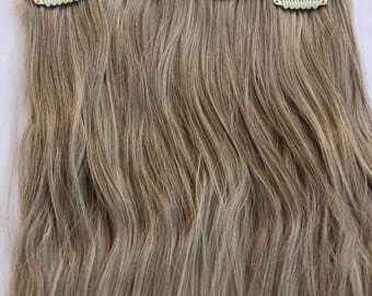 """READY TO SHIP 23"""" Ash Brown with Bleach Blonde Highlights Hair Extension, 8 Piece Set, Blonde Hair, Long Hair, Clip In Extension, Ash Brown"""