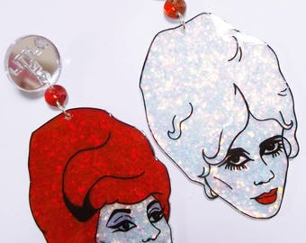 B-52s Cindy Wilson and Kate Pierson New-Wave Music Icons statement glittery earrings