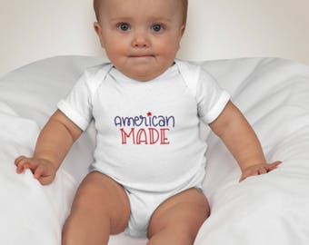 American Made Onesie, 4th of July baby onesie, red white and blue baby shirt, American Made Toddler Tee, Youth 4th of July Tee,