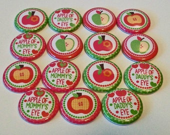 Apple of Mommy's Eye Fall Fabulous Set of 15 1 inch Flat Back Buttons Embellishments Buttons Flair
