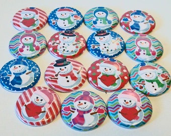 Festive Colorful Snowmen Christmas Winter 1 Inch Flat Back Embellishments Buttons Flair Great for Bow Making