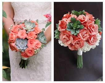 Replica Paper Bridal Bouquet - Match your bridal bouquet in paper. Paper Anniversary Gift! Handmade replica from photo. 8 - 10 - 12 inch