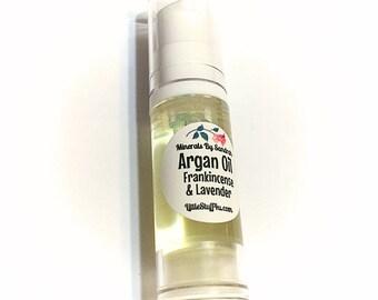ARGAN Oil FRANKINCENSE & LAVENDER Face Serum - Treatment Oil Skin Moisturizer - Anti-Aging Oil