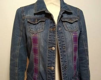 Upcycled Denim jacket with Purple fabric embellishment SizeXL (16) Refashioned repurposed embellished  altered coat boho country shabby chic
