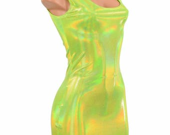 Lime Green Holographic Spandex Bodycon Clubwear Scoop Tank Mini Dress 8095