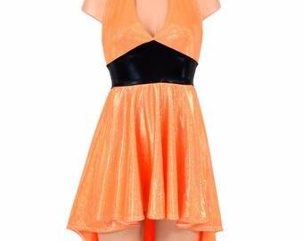 "Hi Lo Hemline ""Halloween"" Halter Dress in Orange Sparkly Jewel with Black Mystique Waistband - 154823"