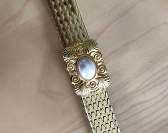 1980s Waist Dress Belt Metallic Gold Pearl Buckle