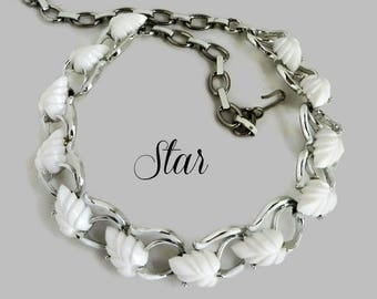 White Leaf Necklace, Vintage Signed Star Silver Tone Choker, Gift for Her, Gift Box, FREE SHIPPING