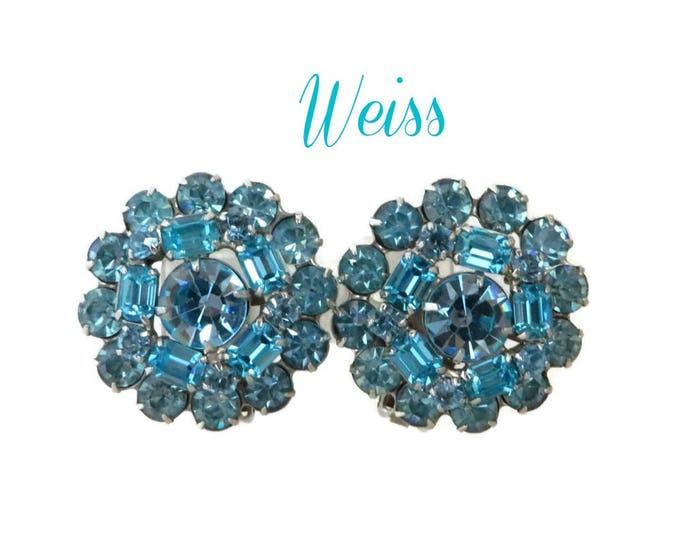 Weiss Teal Blue Earrings, Vintage Large Blue Rhinestone Clip-on Earrings Signed Designer Jewelry, Gift for Her, FREE SHIPPING