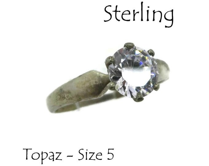 Vintage Topaz Engagement Ring, Antique Finish Sterling Silver Solitaire Ring, Bridal Jewelry Gift Size 5, FREE SHIPPING