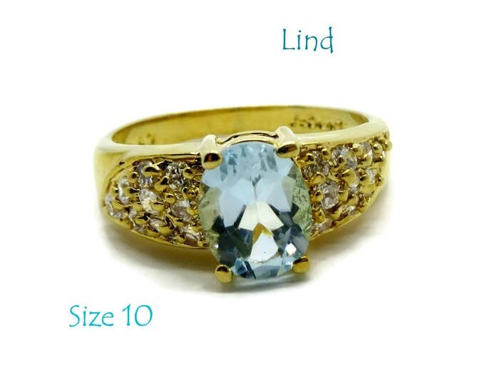 Blue CZ Cocktail Ring - Vintage Lind Cocktail Ring - 14Kt Gold Plated Dinner Ring, Size 10, Gift For Her