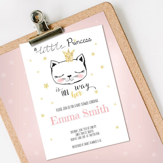 Little Princess Baby Shower Invitation Girl INSTANT DOWNLOAD