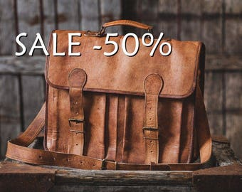 "SALE / Leather Briefcase 16"" / Messenger Bag / Laptop Bag / Handbag / Satchel / Hip Bag / Shoulder Bag / Carry Bag / Cabin Travel Bag"