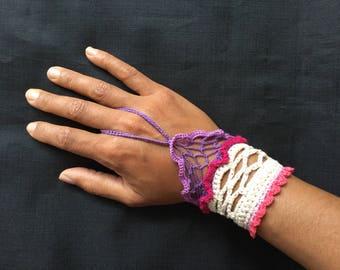 bohemian violet bracelet, purple hand cuff, bright hippie bracelet. crochet cuff cotton. boho bracelet. purple boho bracelet, birthday gift