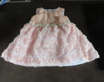 Princess dress in salmon pink with flowers of lace for the summer (12-18 m)
