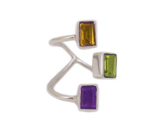 """""""Game Of ingot"""" open ring silver Sterling and gemstone Citrine/Peridot/Amethyst"""