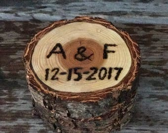 Rustic Doug Fir Log Wedding Ring box, ring bearer box, Engagement Ring Box, Log wooden ring box w/wood burning