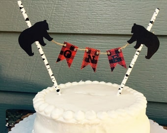 ONE Lumberjack cake topper buffalo plaid red black checkered bear moose cake lodge theme first birthday tree i am one party birthday buck