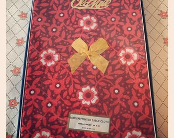Retro Red 1970's Old Mill Tablecloth - Boxed and Unused