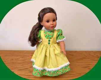 """18 inch Doll Clothes/American Doll Dress with Apron/ Green and Yellow Doll Dress/Girl Doll Dress/AG clothes/Summer outfit/18"""" Doll Outfit"""