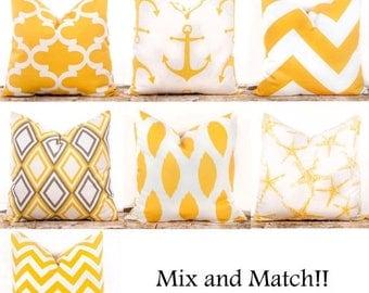 "SALE ENDS SOON Yellow Throw Pillow Covers, Yellow Decorative Pillows, Lattice, Nautical, Corn Yellow, Zig Zag, 18 x 18"""
