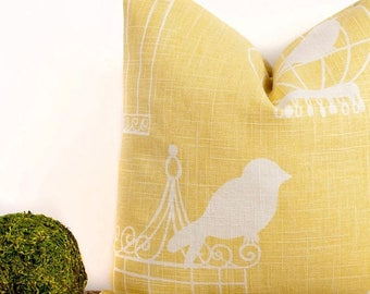 SALE ENDS SOON Yellow Bird Cage Throw Pillow, Yellow Accent Pillow, Interior Design Ideas, 18 x 18