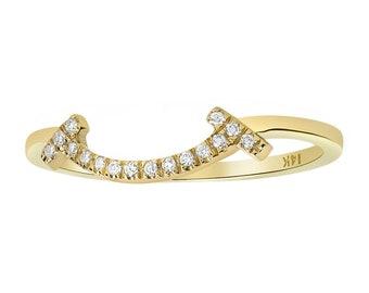 Women 1.2mm 14K Gold Wedding Band 0.06 cttw Diamond Happy Smile Anniversary Ring(GDR134Y)