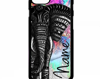 Elephant african tribal colourful tie dye animal personalised name cover for iphone 4 4s 5 5s 5c 6 6s 7 plus SE phone case