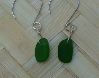 Emerald green seaglass and sterling silver earings