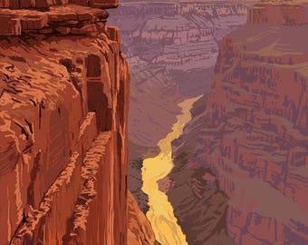Grand Canyon National Park, Arizona - Toroweap Point - Lantern Press Artwork (Art Print - Multiple Sizes Available)