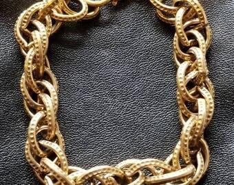 Vintage jewelry bracelet, gold tone link vintage boutique jewelry,  boutique retro jewelry, costume retro  jewelry