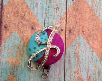 Bling J initial retractable badge reel
