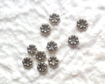 20 6mm silver spacer flower beads