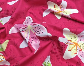 Michael Miller Lush Stargazer Lily DC5382 Cerise Patchwork Quilting Fabric