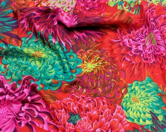 Philip Jacobs Kaffe Fassett Collective Japanese Chrysanthemum PWPJ041 Scarlet Red Free Spirit Fabric