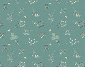 A252.2 - Hedgerow Flowers On Field Green Lewis & Irene Patchwork Quilting Dressmaking Fabric
